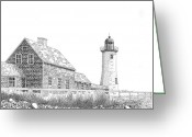 Cape Cod Mass Drawings Greeting Cards - Scituate Lighthouse Greeting Card by Tim Murray