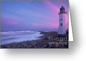 Beautiful Clouds Greeting Cards - Scituate Sunset  Greeting Card by Susan Cole Kelly