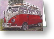 Campervan Greeting Cards - Scoobie Split Greeting Card by Sharon Poulton