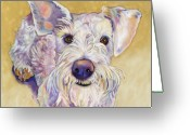 Animal Portrait Pastels Greeting Cards - Scooter Greeting Card by Pat Saunders-White