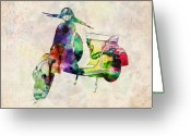 Colorful Digital Art Greeting Cards - Scooter Urban Art Greeting Card by Michael Tompsett