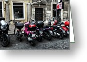 Cobblestone Street Greeting Cards - Scooters and Motorcycles Greeting Card by John Rizzuto