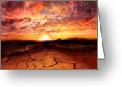 Desert Greeting Cards - Scorched Earth Greeting Card by Photodream Art