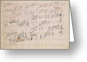Paper Painting Greeting Cards - Score sheet of Moonlight Sonata Greeting Card by Ludwig van Beethoven