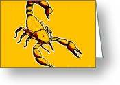 Street Art Greeting Cards - Scorpion Graphic  Greeting Card by Pixel Chimp