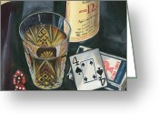 Playing Cards Greeting Cards - Scotch and Cigars 2 Greeting Card by Debbie DeWitt