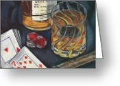 Playing Cards Greeting Cards - Scotch and Cigars 4 Greeting Card by Debbie DeWitt