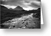 River. Clouds Greeting Cards - Scotland River Greeting Card by Nina Papiorek