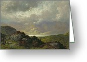 Sunlight Painting Greeting Cards - Scottish Landscape Greeting Card by Gustave Dore