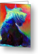Commissioned Greeting Cards - Scottish Terrier Dog painting Greeting Card by Svetlana Novikova