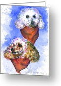 Puddle Painting Greeting Cards - Scotts Dogs Greeting Card by John D Benson