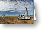 Desert Rats Greeting Cards - Scout Rover Testbed Follows An Greeting Card by Stocktrek Images