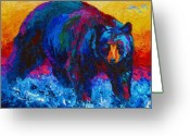 West Painting Greeting Cards - Scouting For Fish - Black Bear Greeting Card by Marion Rose