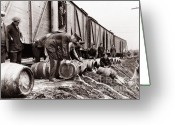 Coal  Greeting Cards - Scranton Police Dumping Beer during prohibition  Scranton PA 1920 to 1933 Greeting Card by Arthur Miller