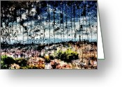 Azure Blue Greeting Cards - Scratched Landscape Greeting Card by Andrea Barbieri