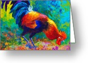 Chickens Greeting Cards - Scratchin - Rooster Greeting Card by Marion Rose