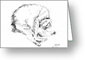 Inkwash Greeting Cards - Scrawny Cat Greeting Card by Sean David Jenkins