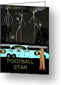 German Football Greeting Cards - Scream Football Star Greeting Card by Eric Kempson