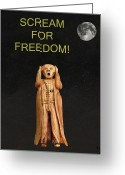 Strikes Mixed Media Greeting Cards - Scream For Freedom Greeting Card by Eric Kempson