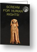 Strikes Mixed Media Greeting Cards - Scream For Human Rights Greeting Card by Eric Kempson