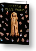 Greek Sculpture Greeting Cards - Scream Olive Wood Greeting Card by Eric Kempson