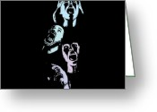 Addison Greeting Cards - Screaming Faces Greeting Card by Karl Addison