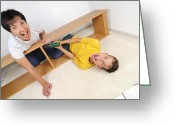 Kid Photo Greeting Cards - Screaming mother and son assembling furniture Greeting Card by Matthias Hauser