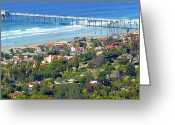 Surf Art La Jolla Digital Art Greeting Cards - Scripps Pier La Jolla California Greeting Card by Russ Harris