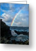 Genesis Greeting Cards - Scripture and Picture Genesis 9 16 Greeting Card by Ken Smith