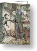 Rackham Greeting Cards - Scrooge and Bob Cratchit Greeting Card by Arthur Rackham
