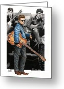 Celebrities Drawings Greeting Cards - Scruffy Lads of Liverpool Greeting Card by Sheryl Unwin