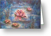 Lilies Sculpture Greeting Cards - Sculpted Waterlilies Greeting Card by Beverly Barris