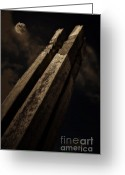 Upright Greeting Cards - Sculpture By Moonlight Greeting Card by Meirion Matthias