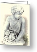 Fruit Basket Greeting Cards - Sculpture Child with Fruit Basket 2 Greeting Card by Linda Phelps