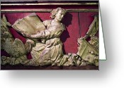 European Union Greeting Cards - Sculpture On The Side Of An Antique Greeting Card by Todd Gipstein