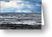 Snowcapped Greeting Cards - Sea And Mountain In Winter Greeting Card by Bgdl