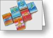 Sunset Sculpture Greeting Cards - Sea Boxes Greeting Card by Charles and Virginia Stuart