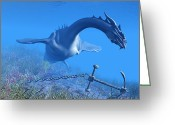 Wondrous Digital Art Greeting Cards - Sea Dragon 01 Greeting Card by Corey Ford