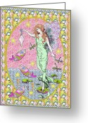 Beach Decor Digital Art Greeting Cards - Sea Fairy Maiden Greeting Card by Anne Hunt