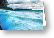 Spume Greeting Cards - Sea Foam Greeting Card by Cheryl Young