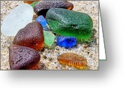 Sea Treasures Greeting Cards - Sea glass collection Greeting Card by Janice Drew