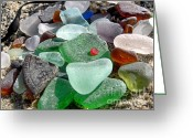 Sea Treasures Greeting Cards - Sea glass in multicolors Greeting Card by Janice Drew