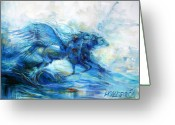 Fantasy Creatures Painting Greeting Cards - Sea Horses Greeting Card by Heather Calderon