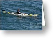 Sea Kayak Greeting Cards - SEA KAYAK man kayaking off the coast of Dorset England UK Greeting Card by Andy Smy