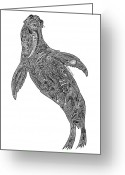 Tribal Drawings Greeting Cards - Sea Lion Greeting Card by Carol Lynne