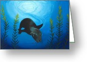 Sea Life Pastels Greeting Cards - Sea Lion Greeting Card by Jackie Novak