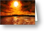 Johnny Trippick Greeting Cards - Sea Loch Sunset Greeting Card by Johnny Trippick