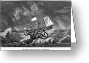 Squid Greeting Cards - SEA MONSTER, 19th CENTURY Greeting Card by Granger
