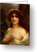 Brown Hair Greeting Cards - Sea Nymph Greeting Card by Emile Vernon