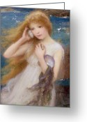 Listening Greeting Cards - Sea Nymph Greeting Card by William Robert Symonds